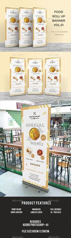 Food Roll Up Banner by infinite78910 Featured1 Psd Files   Ai (31.5 x 78.74 / 80cm x 200cm)   Bleed CMYK 300 DPI Print Ready Well Organized Layer Full Editable Text F