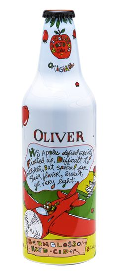 Oliver Beanblosson Hard Cider - Superyummy (just like apple cider), but alcohol per bottle! Beverage Packaging, Coffee Packaging, Brand Packaging, Sleeve Packaging, Design Packaging, Branding Design, Packaging Design Inspiration, Bottle Design, Bottle Art