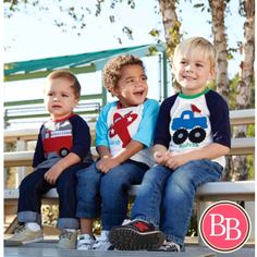 Have a little man who's infatuated with Fire Trucks, Airplanes, & Monster Trucks?? Have we got the perfect tee for you!! Our Mud Pie Transportation Raglan Shirts {$18.95} #BBKids #mudpie #boy #transportation #tee #raglan www.brandisboutiqueshop.co ✈️
