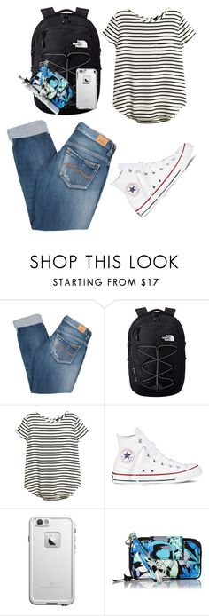 """First day of school outfit?"" by savannahlrainey ❤ liked on Polyvore featuring Pepe Jeans London, The North Face, H&M, Converse, LifeProof and Vera Bradley"