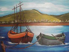 """vitor pinturas: A primeira tela  """"Os barcos"""""""