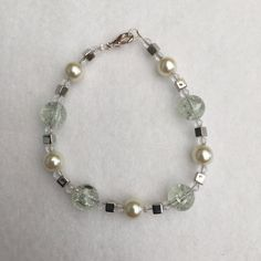 Hand Crafted Beaded Bracelet Clear crackled Beads by NorthernFlair