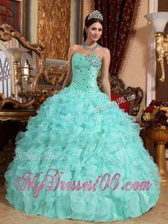 Apple Green Sweetheart Organza Beading Ruffles Ball Gown Sweet 15 Dress