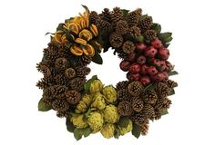 Knud Nielsen crafts its natural accents with dried flowers and foliage straight from its family farm in Evergreen, AL. Lush with organic textures and rich hues, these wreaths, garlands, and more will bring welcoming warmth to your home all season long. Wreaths And Garlands, Orange Slices, Pine Cones, Dried Flowers, Pomegranate, Evergreen, Lush, Holiday, Christmas