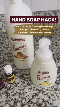 Fill 1 3 of bottle with foaming hand soap 2 drops Thieves eo drops Lemon eo Top with water Add in a bit of fractioned coconut oil if you like for a moisturizer Young Essential Oils, Thieves Essential Oil, Essential Oils Cleaning, Essential Oil Uses, Limpieza Natural, Young Living Oils, Young Living Products, Young Living Thieves Oil, Thieves Cleaner
