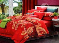 Boutique Staple Cotton Bright Red 4 Piece Duvet Cover Sets  #weddingbeddingset #luxurybeddingset  @bedding inn