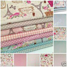 "100% cotton canvas fabric paris gingham & polka dots 44"" wide sold per 1/2 metre"