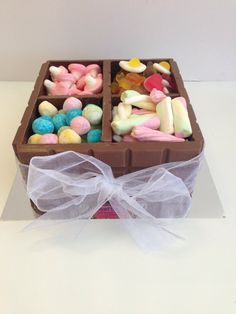 Sweet Creations chocolate treasure box filled with sweets. Sweet Trees, Sweet Box, Treasure Boxes, Chocolate Box, Small Boxes, Xmas, Vegetarian, Sweets, Gifts