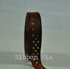 2 yards 3/8 Brown & Gold Swiss Dot Print Grosgrain by RibbonFix