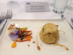 Twice cooked soufflé with pear salad