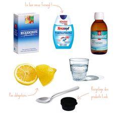 Pour des dents blanches !  1 cuillère à café de Bicarbonate de soude 1 cuillère à café d'Eau oxygénée (ou peroxyde d'hydrogène de son petit nom) 1/2 cuillère à café d'Eau 1 chouïa de Dentifrice du jus de Citron (optionnel) 1 petit récipient pour mélanger le tout