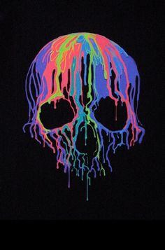 Melted Skull t-shirt is one of our most popular short sleeve shirts. This looks amazing under black lights. Skull lovers love this drippy colorful mess. - 5.3 oz - preshrunk 100% heavy duty cotton tees - Screen Printed Image - Unisex sizes - T-shirt Size Chart - Available in Black - Ships in 1 to 2 working days