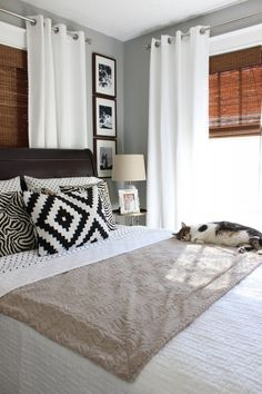 Valspar Granite Dust paint, grommet curtains over bamboo shades, window trim, white bed linens Window treatment for back room Color Palette For Home, Home Bedroom, Bedroom Decor, Bedroom Ideas, Bedroom Furniture Placement, Bedroom Designs, Bedroom Inspiration, Bedroom Rugs, Bed Placement In Bedroom