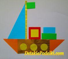 Геометрическая аппликация. » Детские поделки. Детский сайт с поделками из бумаги и фетра.