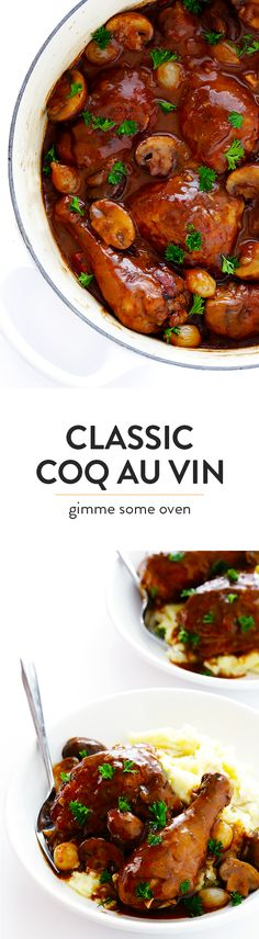 Coq Au Vin (a delicious French dish with chicken slow-simmered in a red wine sauce) is surprisingly easy to make with this classic recipe! | gimmesomeoven.com