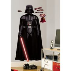 Bring a touch of the Dark Side to any room with this giant wall decal of Star Wars' Sith Lord, Darth Vader. The decals in this set are suitable for any flat surface, and are completely removable and repositionable.