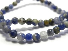 Round Sodalite Real Gemstone Beads 4mm by KolibriBeadSupplies