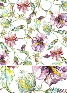 My Story is Art – Lisianthus and Snapdragon Watercolor Pattern