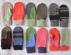 Make mittens out of old sweaters - use pattern from Purl Bee
