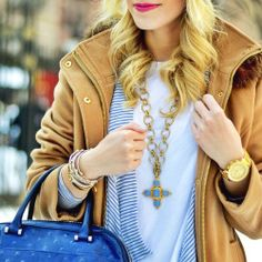 New favorite color combo: Gold, Blue and Camel www.liketk.it/YTu8