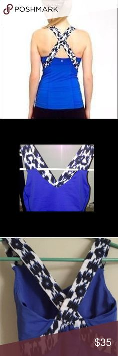 Lululemon Push Your Limits Tank Ikat print Tank - built in bra with pad inserts( pads not included)- deep blue- size 6- great condition lululemon athletica Tops