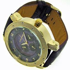 Luxury Men's Roulette Watch – Bling – White Iced Out – 24k Gold Plated