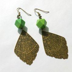Green Earrings Brass Jewelry Turquoise Gemstone by jewelrybycarmal, $20.00