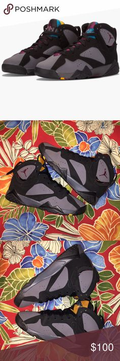 "Gently Worn Air Jordan 7 Boys 6.5 Women's 8.5 An original colorway of the Air Jordan 7 from 1992, the ""Bordeaux"" version features contrasting grey and black paneling with prominent wine red accents. The colorway was worn on court by Michael Jordan once, for the the 1992 NBA All Star Game, and can also be spotted on Michael's feet in the classic Michael Jackson ""Slam"" music video. GENTLY WORN and ORIGINAL BOX NOT AVAILABLE Air Jordan Shoes Sneakers"