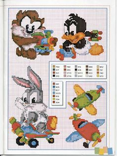 baby looney tunes cross stitch pattern with color key