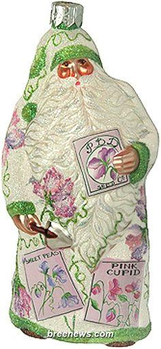 Sowing Time (Sweet Peas) Patricia Breen Designs (Green, Lavender/violet, Pearl/white, Pink, Flowers, Santa)