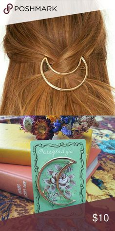Cresent Moon Hair Clip New, photo #2, NOT ANTHRO Anthropologie Accessories Hair Accessories