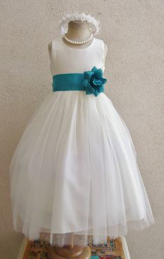 Flower Girl Dresses  IVORY with Teal Mermaid by NollaCollection, $29.99