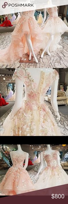 Luxury Handcrafted Customized Prom Dress PLEAS READ CAREFULLY!!!!AFTER PURCHASE TAKES 10-12 Business Days to receive!!! This Dress is Handcrafted and Customized!! Built-in Bra	Yes Decoration	Flowers,Lace,Appliques Material	Polyester, Organza     how to measure Custom Size (please tell us your size as follows)  1 bust =   2 waist=   3 hips=  4 shoulder to shoulder=  5 hollow to floor without shoes = 6 shoulder to floor without heels=   7 your height without shoes= 8 heels= Dresses Prom