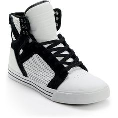 newest 5db4c 867f9 Supra Skytop White Black Perforated Leather Skate Shoe ( 120) found on  Polyvore featuring shoes