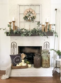 96 Beautiful Farmhouse Fireplace Mantel Decorations That Will Make – Farmhouse… - Fireplace Decor Decor, Farm House Living Room, Room Design, Fall Mantel Decorations, Living Room Decor, Mantle Decor, Fireplace Decor, Living Decor, Rustic House