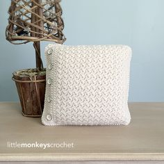Buttoned Throw Pillow By Little Monkeys Crochet - Free Crochet Pattern - (ravelry)