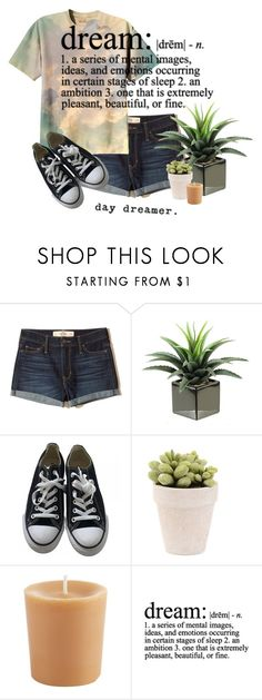 """""""Head in the Clouds"""" by hellokitty522 ❤ liked on Polyvore featuring Hollister Co., Converse, Pier 1 Imports and WALL"""