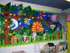 Students can display their work in a classroom jungle Jungle Art, Jungle Theme, Jungle Lion, Jungle Activities, Eyfs Activities, Nursery Activities, Class Activities, Class Displays, School Displays