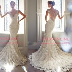 Mermaid wedding dress 2014 sheer back deep v neck romantic lace marriage dress bridal gown vestidos de novia Y21432