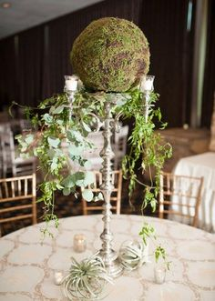 Modern greenery and moss centerpiece by Poppy Lane Design. Wedding by Gibson Events. Photo by Ely Fair Photography. #wedding #centerpiece #green #succulents #moss #candelabra