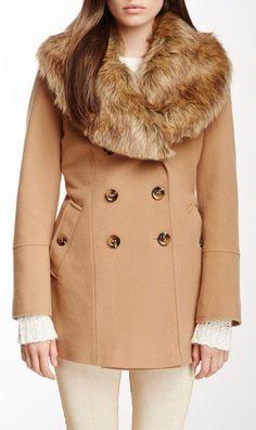Nicole Miller Detachable Faux Fur Trim Coat