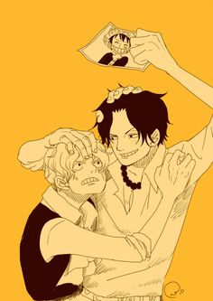 The overprotective brothers Ace & Sabo fighting over Luffy's pic ♡♡♡ Gotta love the ASL Brothers