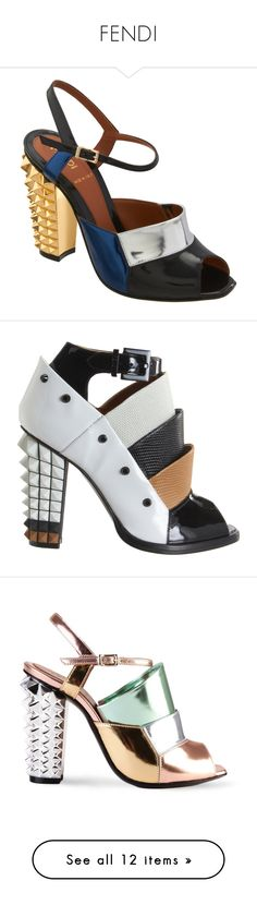 """""""FENDI"""" by maria-kononets ❤ liked on Polyvore featuring shoes, sandals, heels, leather sandals, metallic sandals, leather sole sandals, leather sole shoes, ankle strap high heel sandals, boots and ankle booties"""