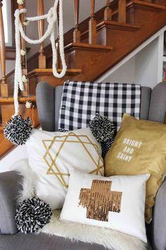 Bright and shiny decorative pillows