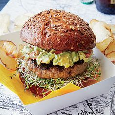 SoCal Guacamole Burger: guacamole, alfalfa sprouts, maybe bacon on beef or turkey patty