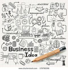 Business Idea doodles icons set. Vector illustration. - stock vector