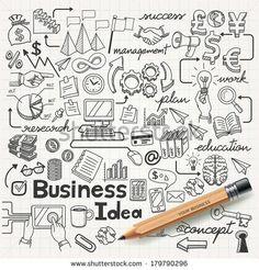 Business Idea Doodles Icons Set. Vector Illustration. - 179790296 : Shutterstock