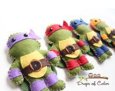 TMNT Teenage Mutant Ninja Turtles Plush Toys by dropsofcolorshop