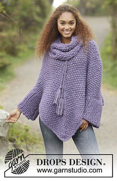 """Lavender grove / DROPS - free knitting patterns by DROPS design DROPS poncho knitted from top to bottom in 2 strands """"Cloud"""" with pearl pattern and separate collar. Sizes S-XXXL. Crochet Coat, Knitted Poncho, Knitted Shawls, Crochet Shawl, Crochet Clothes, Free Crochet, Poncho Knitting Patterns, Knitting Stitches, Knit Patterns"""
