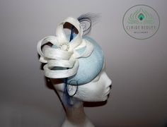 Cornflower / pale baby blue and white sinamay pillbox percher hat, cocktail hat, fascinator with white sinamay bows and vintage pearls
